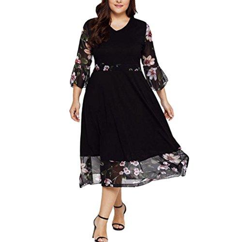 MRULIC Frauen Midi Kleider V-Ausschnitt Wrap Chiffon Floral Langarm Plus Size...