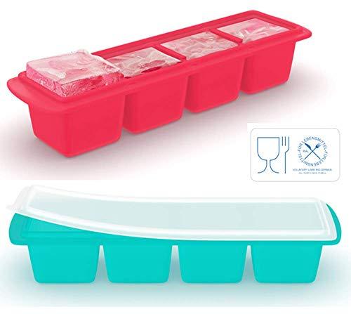Eiswürfelschale aus Silikon mit Deckel (2er-Pack), Extragroße Eiswürfel, Schlankes Design - Ideal für Kleine Gefriergeräte und Whisky-Trinker, Premium-Qualität (LFGB) (Mit Behälter Schlanken Deckel)
