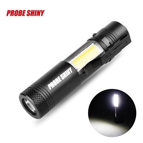Familizo Forte Lumière Lampe de Poche, Mode Lumineux Superbe XM-L Q5 + COB LED 4 3500Lm 14500 Torche de Lampe de Poche (Taille: 92 * 20 * 20mm, Noir)