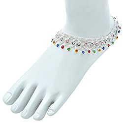 Fashionairs Silver Plated colourful traditional Ethnic Bridal Jewellery Anklet for Women