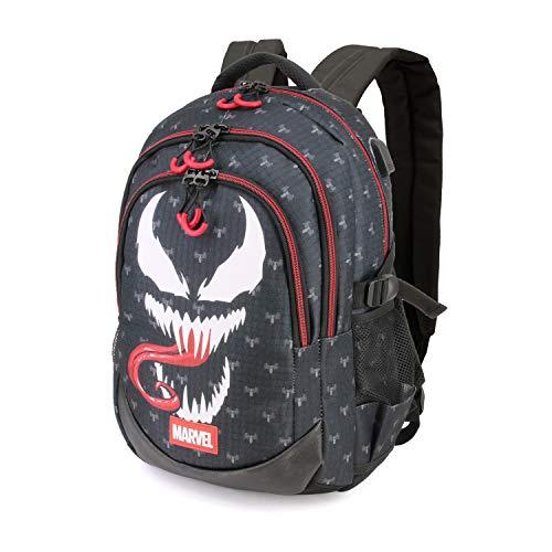 Karactermania Venom - Mochila con 3 Compartimentos, Negro, 44 cm