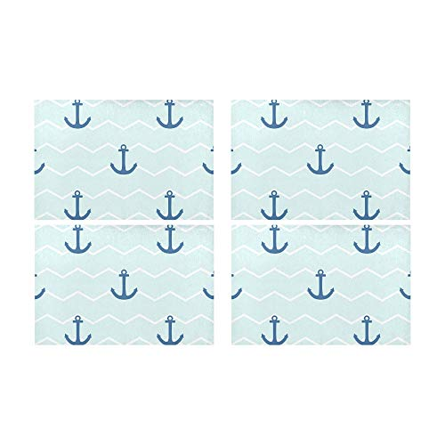 Rtosd Marine Sea Anchor Sailor Küche gedruckt fleckabweisend Wärmedämmung waschbar quadratische Tischset Tischset für Baby und Frauen runden Esstisch 12