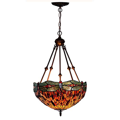 Tiffany-Art-Libellen-Deckenleuchte, 18 Zoll-Buntglas-Farbton-Leuchter, 4 Arme, 3 Lichter Invertierte Decken-hängende Hängende Lampen-Befestigung Für Esszimmer-Wohnzimmer-Schlafzimmer -
