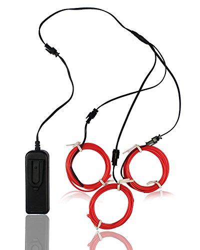 Elettroluminescente Wire (EL Wire) Splitter 3 x 1,5 metri d'ardore di effetto stroboscopico della luce al neon Set (Red)