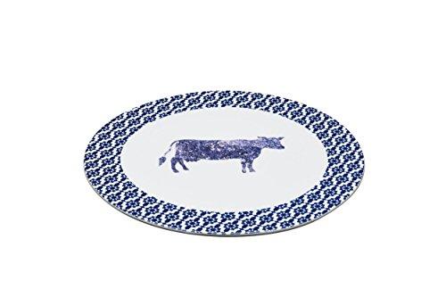 groß Porzellan 'Kuh' Käse Teller, 30cm (30,5cm)-Blau Rand ()