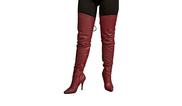 5e73c0bcaf0 Pleaser Soft Red Leather High Heel Thigh Boots (Legend 8899) - UK 4   Amazon.co.uk  Shoes   Bags