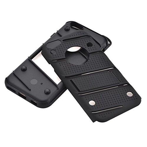 EKINHUI Case Cover Dual Layer Hybrid Armor Schutzhülle Shockproof Stoßfänger mit Kickstand für iPhone 7/8 ( Color : Blue ) Black
