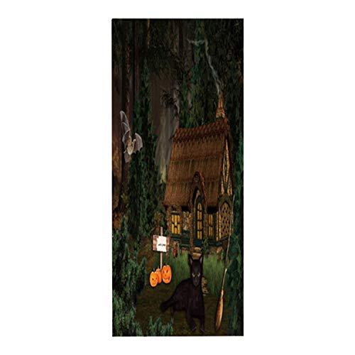 xmydeshoop Dschungel Lodge Abnehmbare Tür Aufkleber Anhaftende Tür Wandbild Tür Aufkleber Für Alle Heiligen des Tages Party Dekoration Lieferungen Hause 77X200 cm
