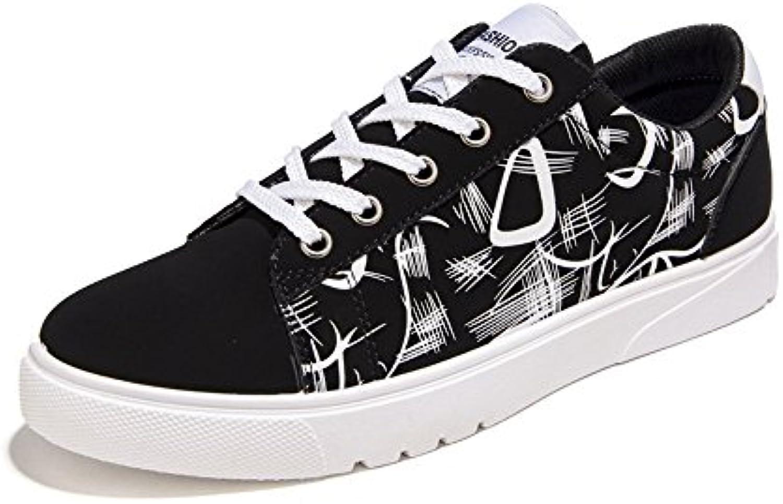 Sunny&Baby Zapatos Planos de Los Hombres de Charol Abstracto Pintura Superior con Cordones baj Resistente a La  -