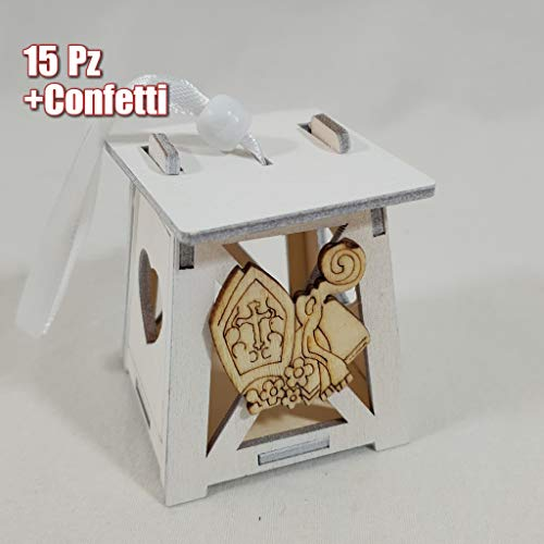 Sindy bomboniere idee portaconfetti cresima lanterna in legno simbolo cresima completa di confetti o fai da te (15pz) (15 lanterne con confetti)