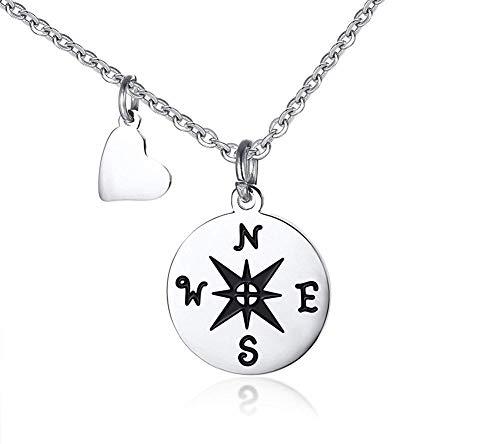 Xbyee compass placcato in acciaio inossidabile d'argento e di fascino del cuore incoraggiando la collana del pendente, libero inciso