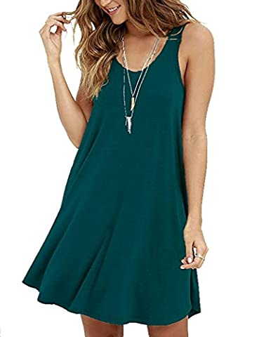 VIISHOW New Womens Plain Swing Dress Sleeveless Ladies Flared Stretch Top Tunic Plus Size (Dark green S)