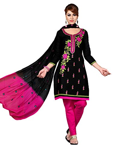Oomph! Women's Cotton Unstitched Embroidered Salwar Suit Dupatta Dress Material, Pitch Black