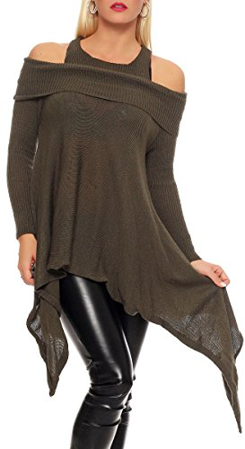 Malito Damen Pullover schulterfrei   Oberteil mit Wasserfallschnitt   schickes Sweatshirt   Kostüm 7339 (Oliv)