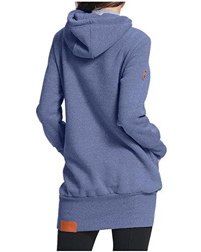 StyleDome Hiver Femme Sweats à Capuche Pull Col Haut Hoodie Hauts Veste Sweatshirt Pullover Tops Jumper Blouse Bleu 459720