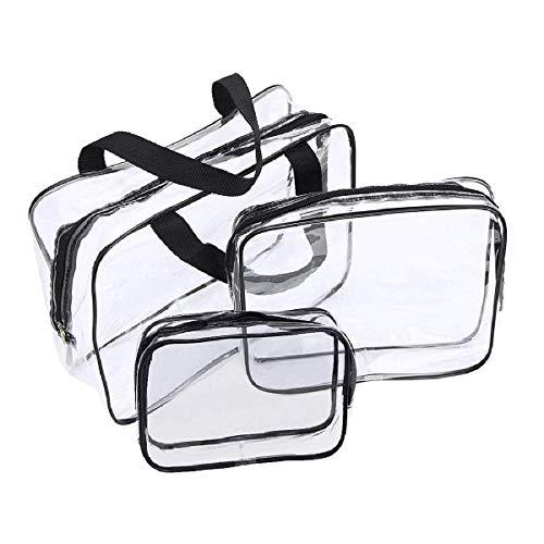 Juego de 3 bolsas de cosméticos transparentes impermeables para viajes, cosméticos, bolsa de equipaje para mujeres y hombres