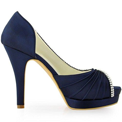 Elegantpark EP11064-IPF Bout Ouvert Pliez Satin Strass Aiguille Talon Pumps Femme Chaussures de Mariage Bleu Marine