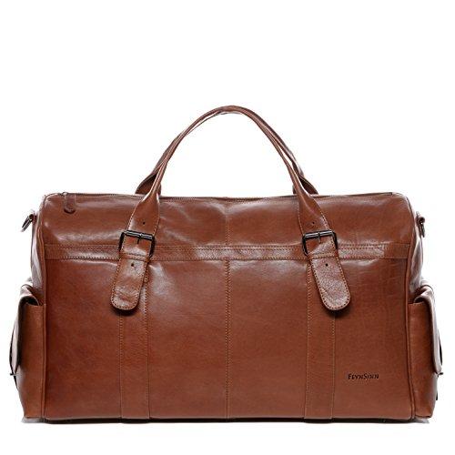 FEYNSINN® grand sac de voyage ASHTON - grand XL fourre-tout, besace week-end - sac sport bagages cabine à main sac homme marron sac cuir