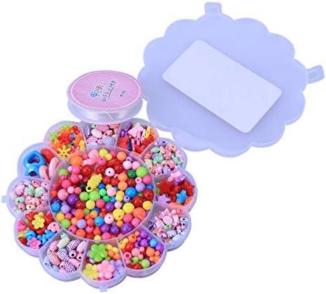 559b4671068a69 YEAHIBABY Artisanat 490 Pièces Bricolage Fabrication de Bijoux Perles Set  Artisanat YEAHIBABY Perles pour Petites Filles