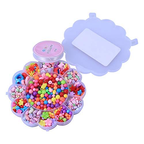 YEAHIBABY 490 Stück DIY Schmuckherstellung Perlen Set Handwerk Perlen für kleine Mädchen Halsketten Armband Machen