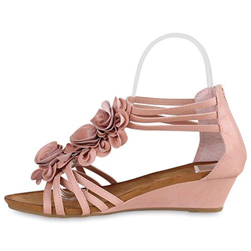 Damen Keilabsatz Sandalen | Riemchensandalen Strass | Sandaletten Wedges Glitzer | Blumen Metallic Flats | Sommerschuhe Rosa Bernice