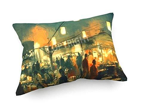 weewado Tithi Luadthong - Markt in der Nacht - 60x40 cm - Sofa-Kissen aus Satin - Kunst, Gemälde, Foto, Bild auf Kissen - Menschen