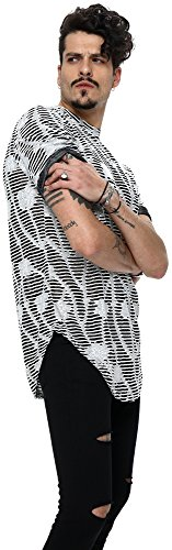 Pizoff Unisex Hip Hop Design langes T Shirts im Distressed-Look Y1727-15