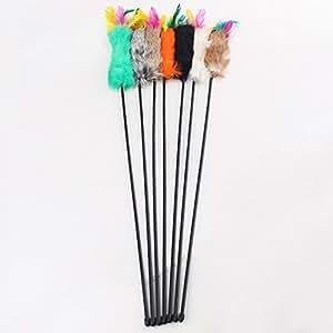 Jouet Canne Stick Plumeau Avec Poile et Plume Pour Chien Chat Animal en Plastique 55cm