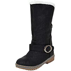 Bottes de Neige pour Femmes Manadlian Bottes Femme Imperméables Mode Femmes Boots Cheville Plat Fourrure Doublé Hiver Chaud Neige Chaussures