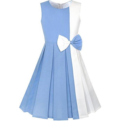 (Sunboree Mädchen Kleid Farbe Blockieren Kontrast Bogen Binden Gr. 98)