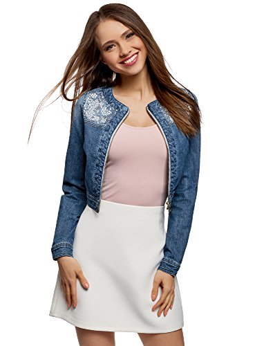 oodji Ultra Damen Jeansjacke mit Metallnieten, Blau, DE 42 / EU 44 / XL (Größe 16 Kurze Damen Jeans)