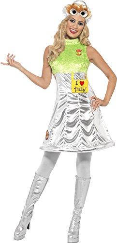 Mülltonnen Kostüm - Smiffys, Damen Oscar aus der Mülltonne Kostüm, Kleid und Mütze, Sesamstraße, Größe: XS, 38679