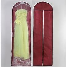 HIMRY® Transpirable bolsa de ropa, aprox. 180 cm, con cremallera de calidad. para vestidos de novia o de fiesta, trajes, abrigos, Funda de ropa, Bolsa portatrajes, rojo oscuro, KXB-105 darkred