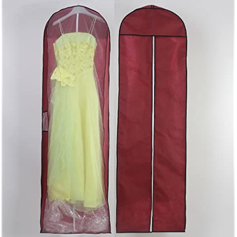 HIMRY® Transpirable bolsa de ropa, aprox. 180 cm, con cremallera de calidad. para vestidos de novia o de fiesta, trajes, abrigos, Funda de ropa, Bolsa portatrajes, rojo oscuro, KXB-105