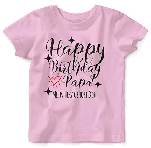 T-Shirt mit Spruch für Jungen Mädchen Unisex Kurzarm Happy Birthday Papa! Mein Herz gehört Dir! | handbedruckt in Deutschland | Handmade with Love, Farbe:rosa, Grösse:68/74 ()