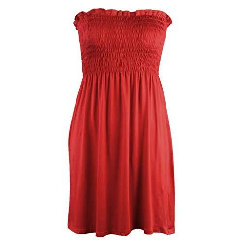 AZZRA Frauen Weg vom Schulter-Party-Kleid-Cocktail-Abschlussball-Ballkleid-Abendkleid Sommerkleid gedruckt Knielang Strandkleid lose high Waist elastische -