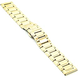 StrapsCo Yellow Gold Stainless Steel Metal Mens Watch Band w/ Quick Release Pins fits Seiko 20mm