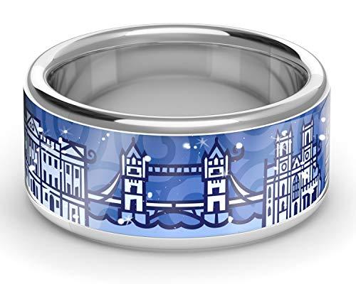 ZEBRA London Ring Silber (Navy Blue, 54 (17.2))