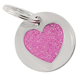 K9 Glitter Heart Small Identity Tag, Pink