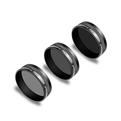 Neewer 3 Stück Objektiv Filter Set für DJI Phantom 4 Pro Drohne Quadcopter: ND4/PL ND8/PL ND16/PL mehrfach beschichtetem optischen Glas und wasserfestem Aluminiumrahmen (Schwarz)