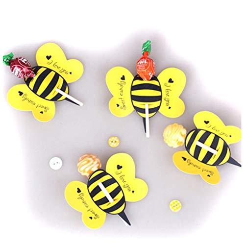 KISSFRIDAY Süßigkeits-Lutscher-Dekorations-Geschenk-Nette Bienen-Marienkäfer-Schmetterlings-Lollypop-Entwurfs-Reizende Stützen für die Geburtstagsfeier des Kindes (Gelb)
