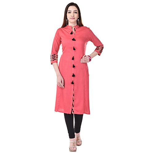 Vaachi Women'S Pink Kurta (Vc022Pink-Xl_X-Large)
