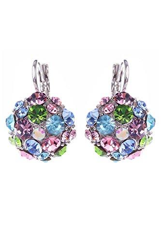 Pendientes - SODIAL(R)Pendientes de joyeria de lagrima de circon para mujeres multicolor