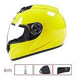 YSH Motorrad Helm Moto Full Face Retro Roller Helme Motorrad Reithelm Männer Motocross Helm Casco Moto,YellowTransparentmirror-OneSize54-59cm