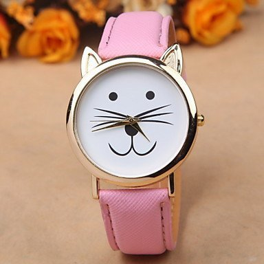 fenkoo Kitty passen Mujeres Relojes gato reloj de pulsera reloj de piel de reloj de vino de lectura Reloj joyas accesorios rosa