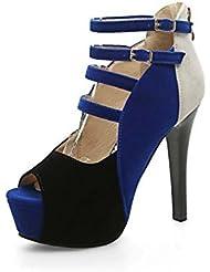 NobS Color Matching Suede Tacones Altos Impermeable Plataforma De Gran TamañO Sandals Mujeres Leopard , blue , 39