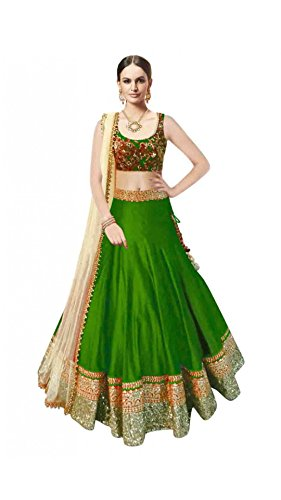 Vipul Women\'s Branded Green & YELLOW Party Wear Silk Lehenga (Best Gift For Mummy Mom Wife Girl Friend, Exclusive Offers and Sale Discount)