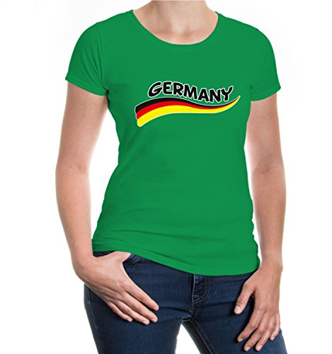 buXsbaum® Girlie T-Shirt Germany-Wave Kellygreen-z-direct