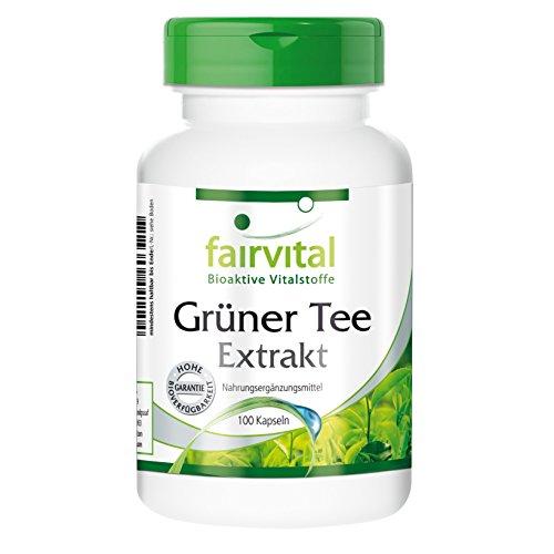 Grüner Tee Extrakt - für 25 Tage - VEGAN - HOCHDOSIERT - 100 Kapseln - Camellia sinensis - mit mind. 50% Polyphenolen