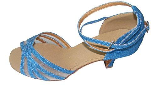 Pobofashion Glitzernde Damenschuhe für lateinamerikanische Tänze (EU38, Cyanblau)